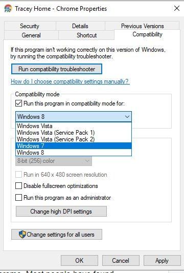 Chrome Black Screen Compatibily Windows Version