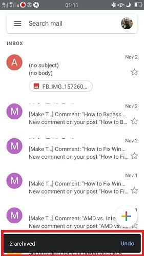 رسائل البريد الإلكتروني المؤرشفة Gmail Mobile