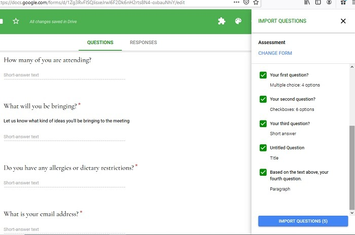 Importing Questions Directly Google Form