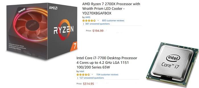 Intel Core I7 Versus Amd Ryzen 7 Price Comparison