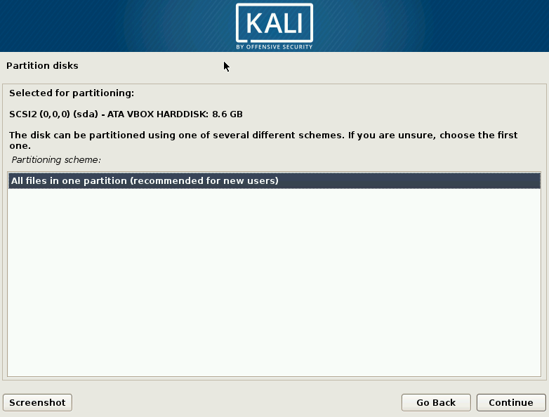 Kali Linux All Files Partition Selection Screen