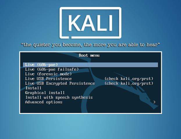 Kali Linux Boot Screen