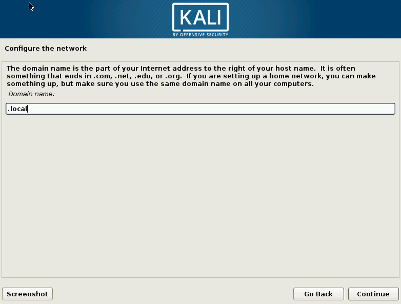 Kali Linux Choose Domain Name Screen