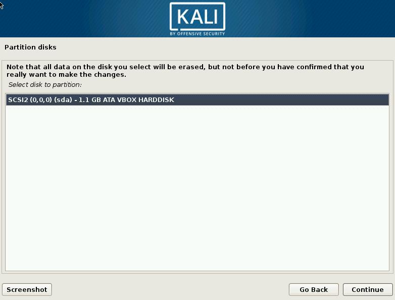 Kali Linux Choose Hard Drive Screen