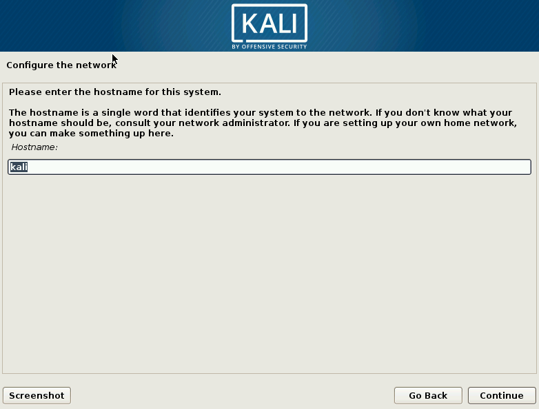 Kali Linux Choose Hostname Screen