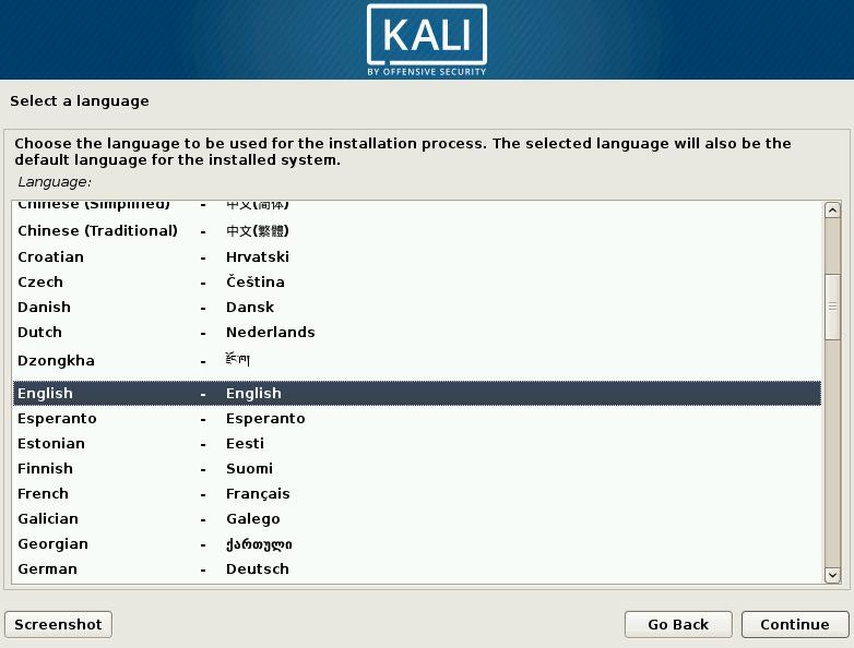 Kali Linux Choose Language Screen