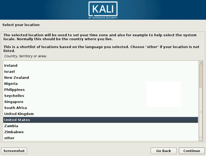 Kali Linux Choose Location Screen