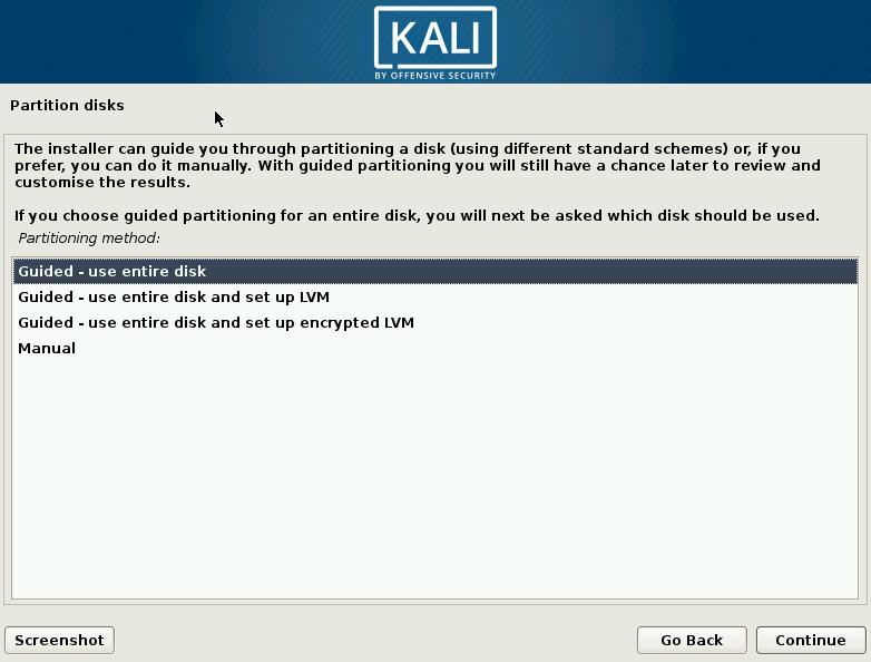 Kali Linux Choose Partition Method Screen
