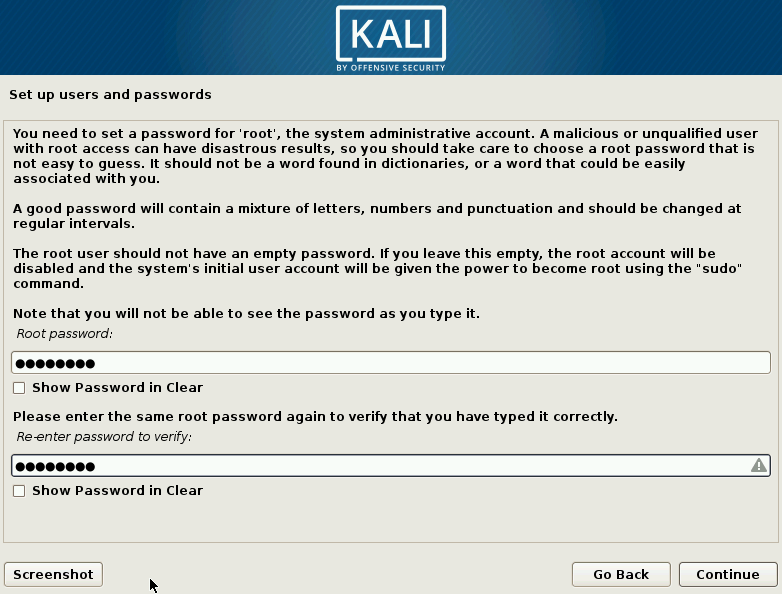 Kali Linux Choose Root Password Screen