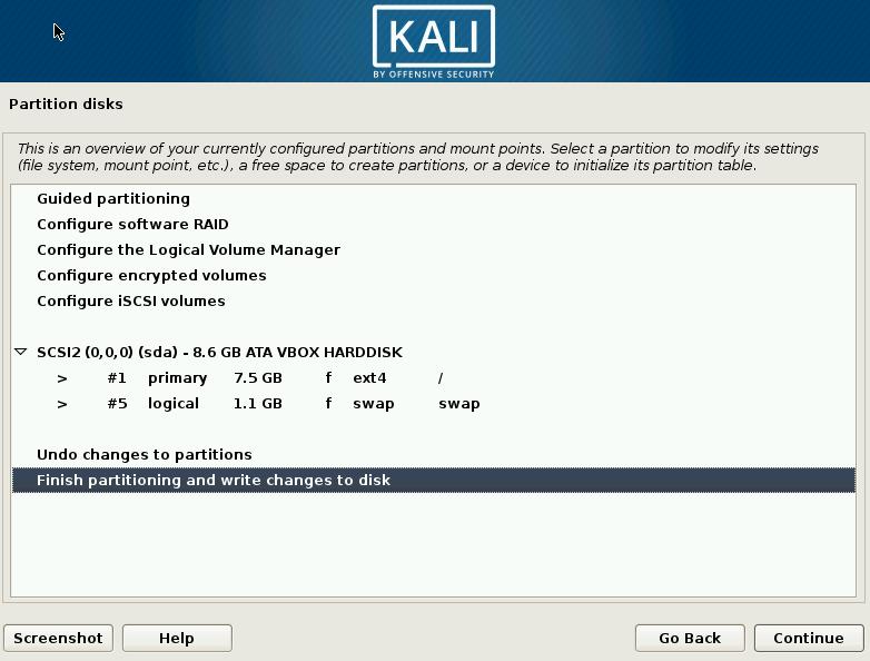 Kali Linux Final Partition Screen