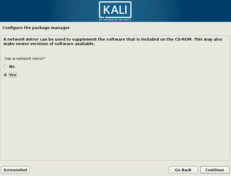 Kali Linux Network Mirror Choice