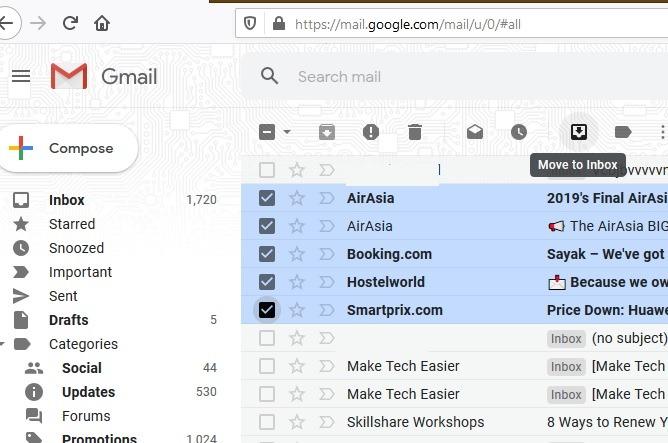 نقل رسائل البريد الإلكتروني المؤرشفة إلى البريد الوارد