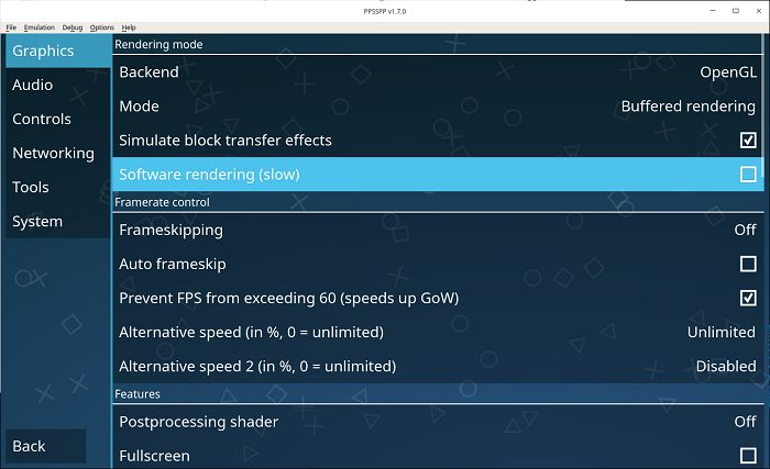 Ppsspp Psp On Deepin Linux Software Rendering