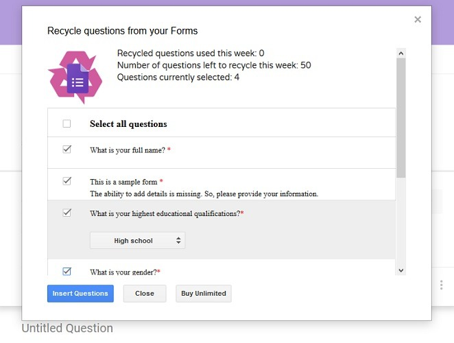 Recycled Questions Form Recycler