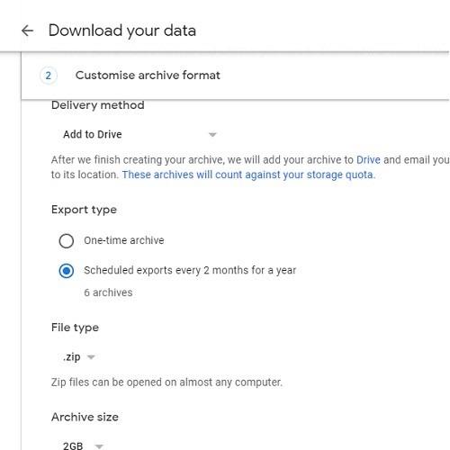 Retrieval Schedule Google Takeout