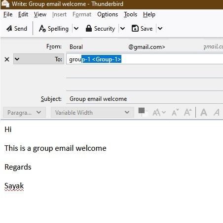 Sending Group Email Thunderbird