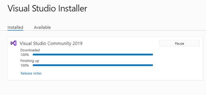 Visual Studio Installer Finishing