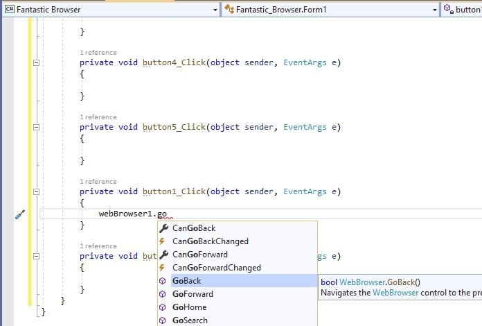Webbrowser Go Back In Visual Studio