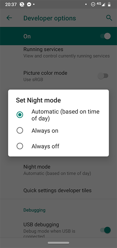 Android Developer Options Night Mode