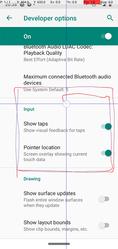 Android Developer Options Show Tap