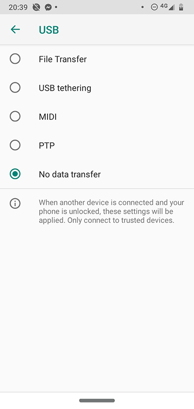 Android Developer Options Usb Connection
