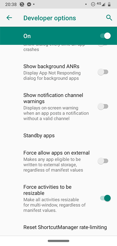Android Developer Options Window Resize