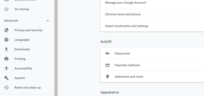 Chrome Advanced Settings