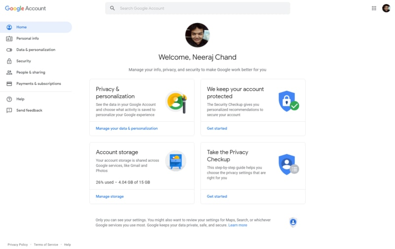 Google Account Home Page