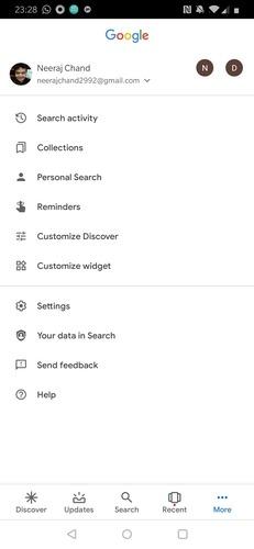 Google App Account Menu