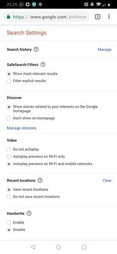 Google App Search Settings