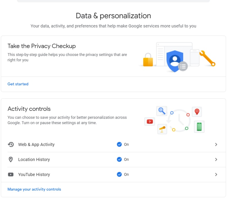 Google Data And Personlization Section