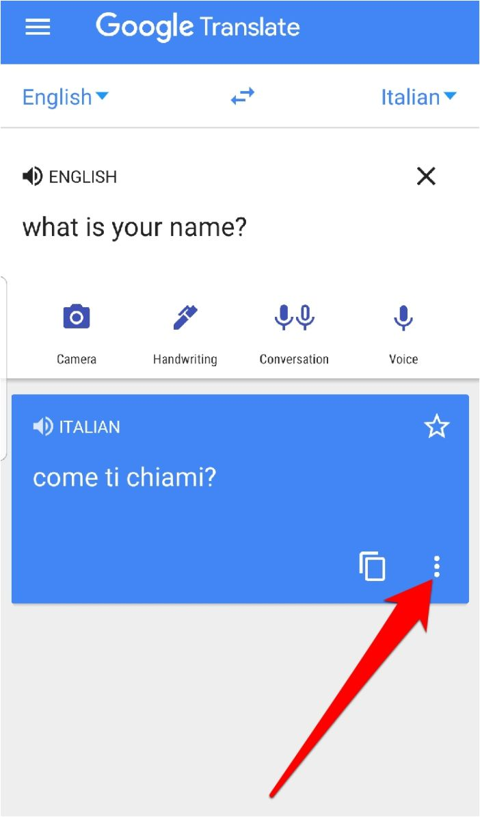 Google Translate App Three Dots Full Screen