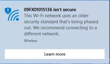 Wifi Not Secure Warning Network Not Secure