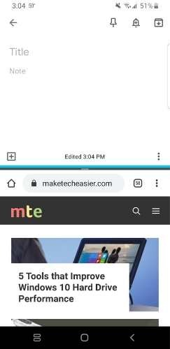 Android Split Screen Resulting Screen