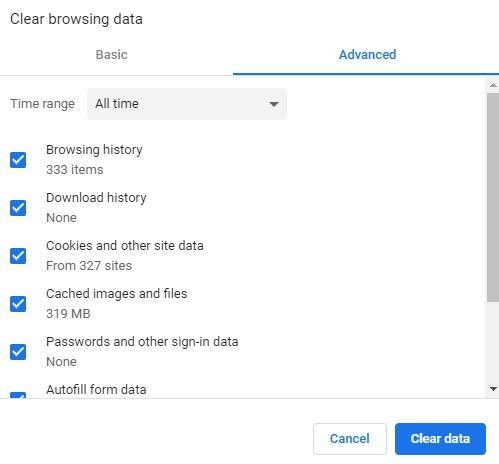 Chrome Clear Browser Data