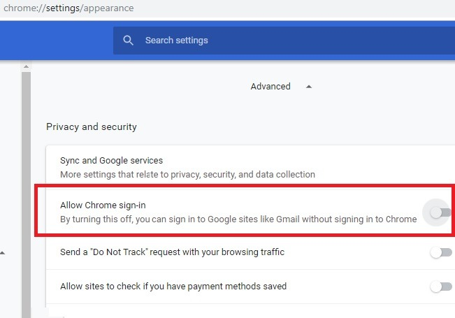 Disallow Chrome Sign In Settings Appearance