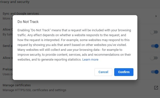 Enable Do Not Track