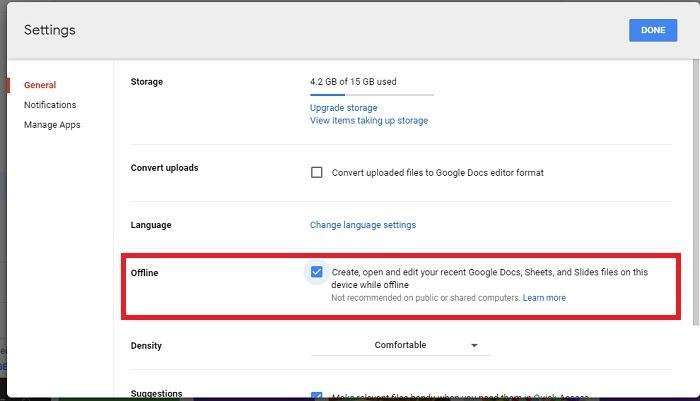 Google Drive Work Offline