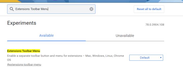 Hide Extensions Chrome Experimental Features