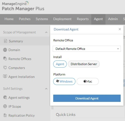 Install Agent Patch Manager Plus