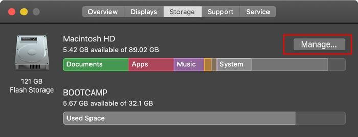 Optimized Storage Mac Manage