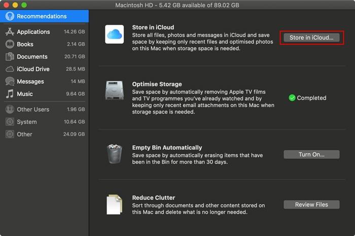 Optimized Storage Mac Storage