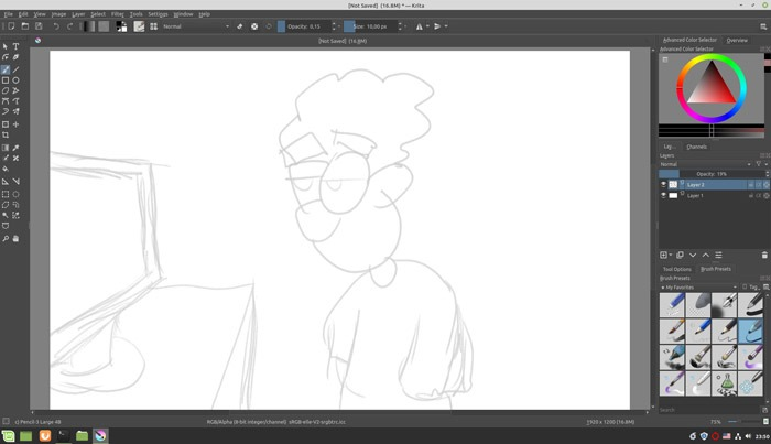 Sketch Like A Pro In Krita Reduced Layer Opacity