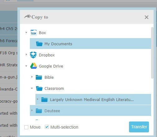 Transfer Multi Selection One Cloud To Another Dropbox To Box N Google Drive