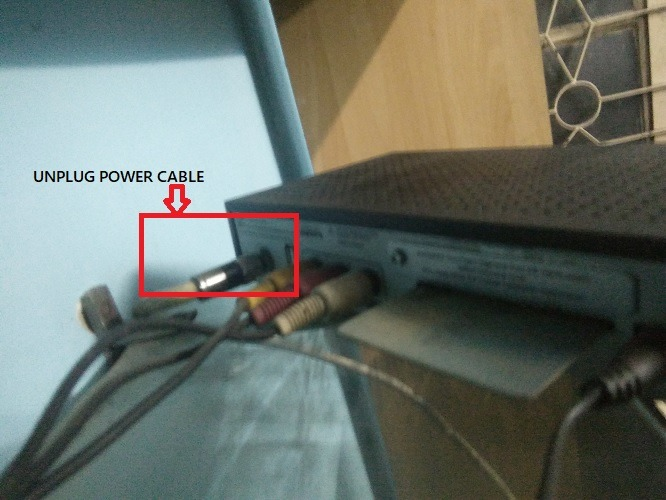 Unplug Power Cable Set Top Box