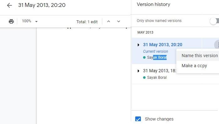 Version Changes Google Drive Documents