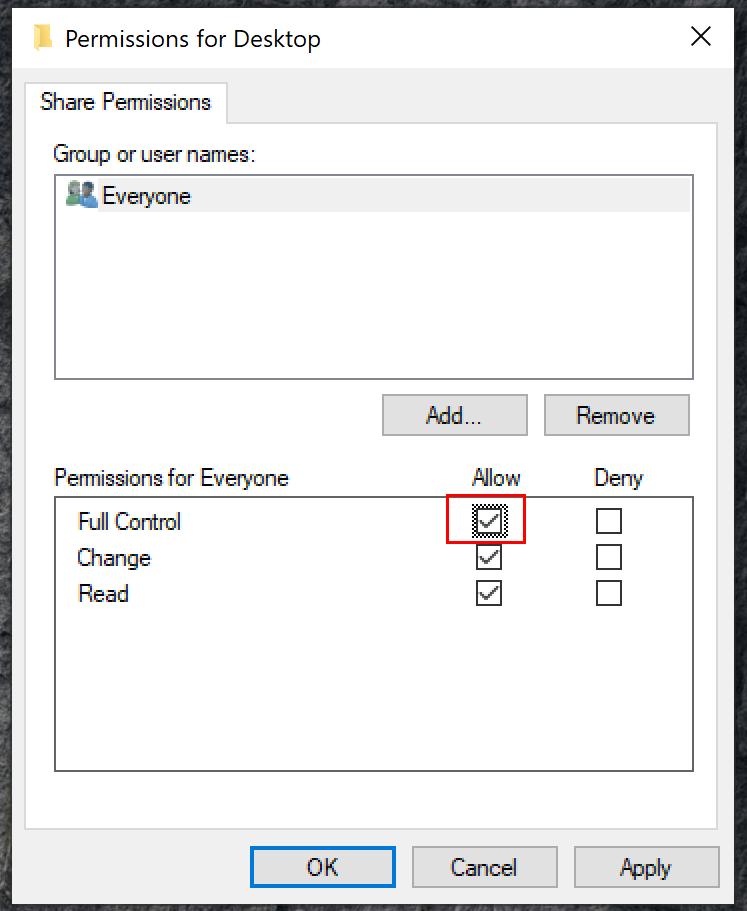 Windows Folder Share Permissions
