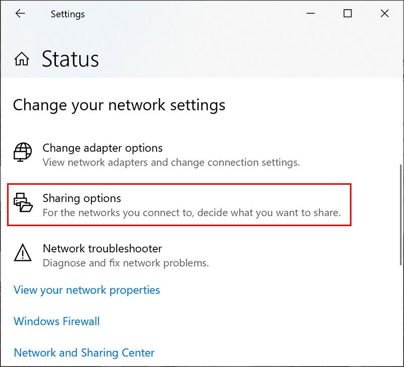 Windows Network Sharing Settings Menu