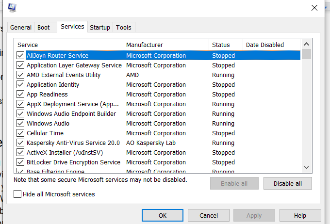 Windows Unresponsive Services Tab
