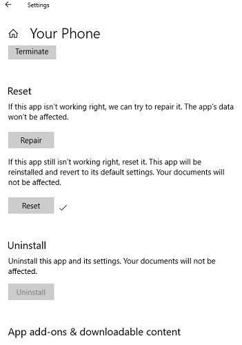 Your Phone App Settings